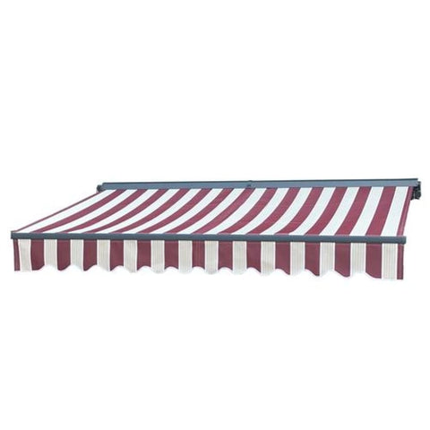 Aleko Half Cassette Motorized Retractable Patio Awning 20 x 10 Feet Multi-Striped Red AWCM20X10MSRED19-AP Half Cassette Motorized