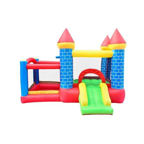 Aleko Indoor/Outdoor Inflatable Bounce House Mega Castle with Built-In Ball Pit Slide and Hoop Multi Color BH0014-AP Inflatable Bounce