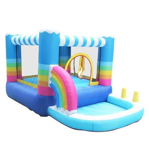 Aleko Indoor/Outdoor Inflatable Bounce House with Built-In Ball Pit Rainbow Design Multi Color BH0011-AP Inflatable Bounce Houses