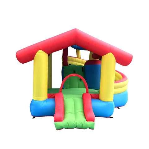 Aleko Inflatable Playtime Bounce House with Double Slide and Shaded Canopy BHHOUSE-AP Inflatable Bounce Houses