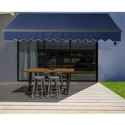 Aleko Motorized Retractable Black Frame Patio Awning 12 x 10 Feet Ivory ABM12X10IVORY29-AP Motorized Retractable Awnings 12 x 10 Ft