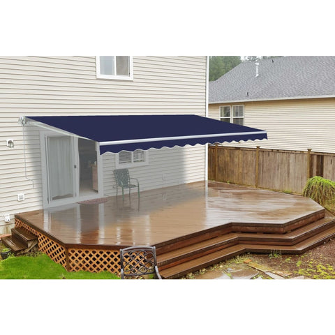Aleko Motorized Retractable Patio Awning 8 X 6.5 Feet Blue Awm8X6.5Blue30-Ap Motorized Retractable Awnings 8 X 6.5 Ft