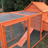 Aleko Multi Level Wooden Chicken Coop or Rabbit Hutch 143.7 x 68.5 x 66.5 Inches Red DXH1000RD-AP Chicken Coops and Rabbit Hutches