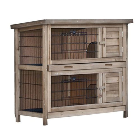 Aleko Multi Level Wooden Chicken Coop or Rabbit Hutch 35 x 18 x 32 Inches ARH35X18X32-AP Chicken Coops and Rabbit Hutches