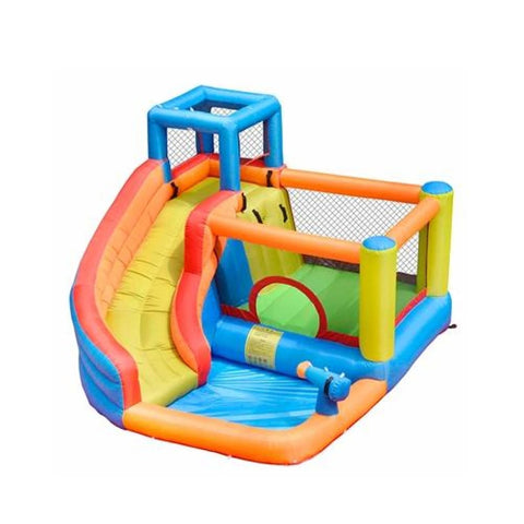 Aleko Outdoor Inflatable Bounce House with Water Sprayer and Splash Pool Multi Color BH0013-AP Inflatable Bounce Houses