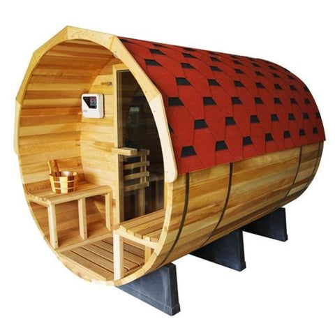 Aleko Outdoor or Indoor Pine Barrel Sauna with Panoramic View 7 Person Front Porch Canopy 9 kW ETL Certified Heater SB7ABPI-AP Aleko Barrel