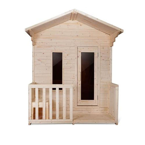 Aleko Outdoor White Pine Steam Sauna Fenced Front Porch ETL Certified 4 Person SLEK4PINE-AP Aleko Outdoor Saunas