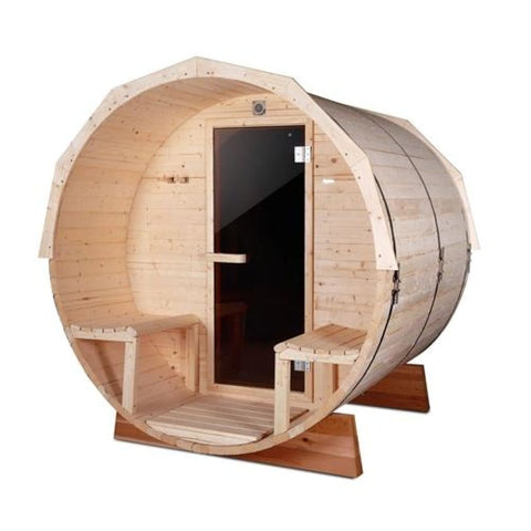 Aleko Pine Barrel Sauna with Panoramic View 4.5 kW ETL Certified 5 Person SB5ABPI-AP Aleko Barrel Saunas