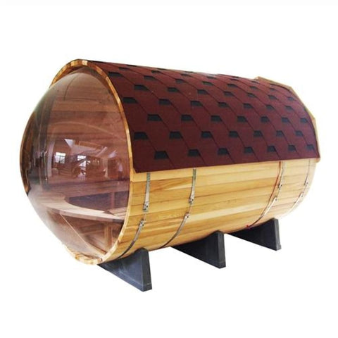Aleko Red Cedar Barrel Sauna with Panoramic View 9 kW ETL Certified Heater 7 Person SB7ABCE-AP Aleko Barrel Saunas