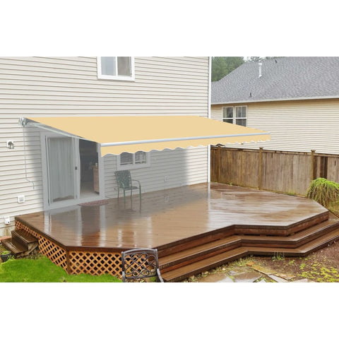 Aleko Retractable Patio Awning 12X10 Feet Ivory Aw12X10Ivory29-Ap Retractable Awnings 12 X 10 Ft