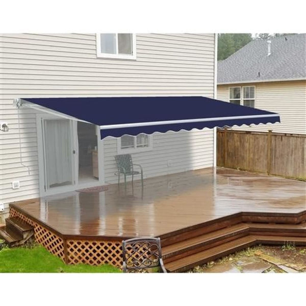 Aleko Retractable Patio Awning 8 X 6.5 Feet Dark Blue Aw8X6.5Blue30-Ap Retractable Awnings 8 X 6.5 Ft