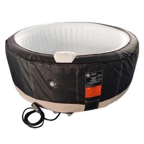 Aleko Round Inflatable Hot Tub Spa With Zip Cover 6 Person 265 Gallon Black and White HTIR6BKWH-AP Hot Tubs