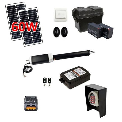 Aleko Single Swing Gate Operator AS850 AC/DC Solar Kit 60W AS850FULL-AP Single Swing Gate Operator