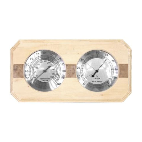 Aleko Wall-Mounted Pine Wood Thermometer and Hygrometer WJ10C-AP Aleko Sauna Accessories