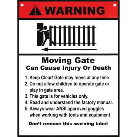 Aleko Warning Moving Gate Sign 8 X 10.5 Inches Wsign-Ap Parts For Sliding Gate Openers