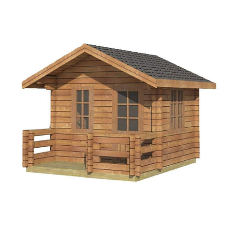 Aleko Wooden DIY Outdoor Studio-Home Cabin and Cottage Space with Fenced Front PorchWLCPI04-AP Aleko Cabin and Cottage
