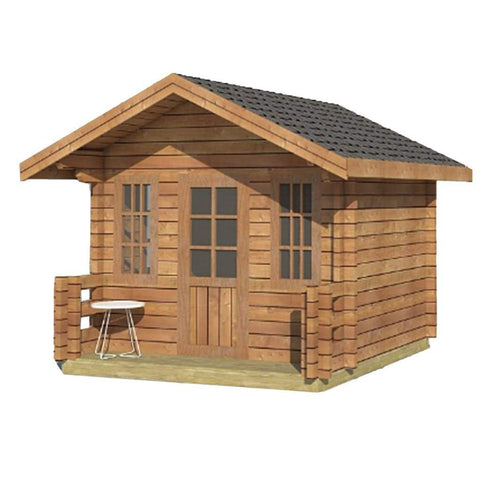 Aleko Wooden DIY Outdoor Studio-Home Cabin and Cottage Space with Front Porch WLCPI02-AP Aleko Cabin and Cottage