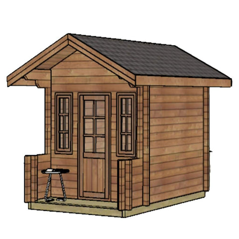 Aleko Wooden DIY Outdoor Studio-Home Cabin and Cottage Space with Front Porch WLCPI03-AP Aleko Cabin and Cottage