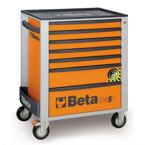 Beta Tools Anti Tilt Roller Cabinet 7 Drawer C24Sa/7 Orange Roller Cabinet