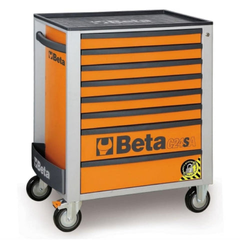 Beta Tools Anti Tilt Roller Cabinet 8 Drawer C24Sa/8 Orange Roller Cabinet