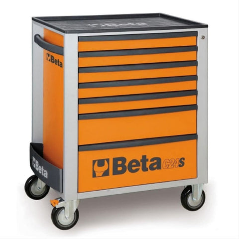 Beta Tools Mobile Roller Cabinet 7 Drawer C24S/7 Orange Roller Cabinet