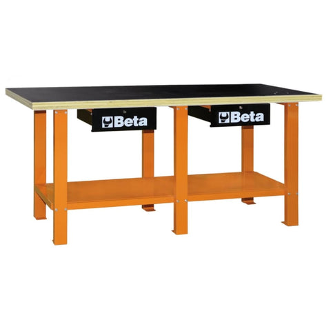 Beta Tools Workbench With Wood Top C56W Orange Workbench