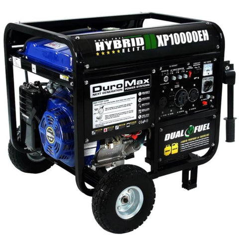 Duromax 10000-Watt Electric Start Dual Fuel Hybrid Portable Generator Xp10000Eh Dual Fuel Generators