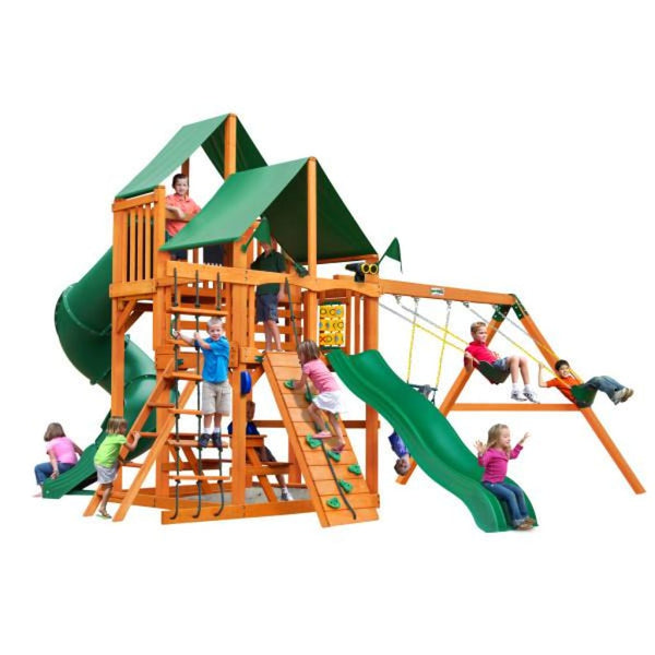 Gorilla Playsets Great Skye I w/ Amber Posts and Deluxe Green Vinyl Canopy 01-0030-AP-1 Gorilla Swing Sets