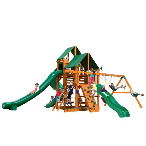 Gorilla Playsets Great Skye II w/ Amber Posts and Sunbrella Canvas Forest Green Canopy 01-0031-AP-2 Gorilla Swing Sets