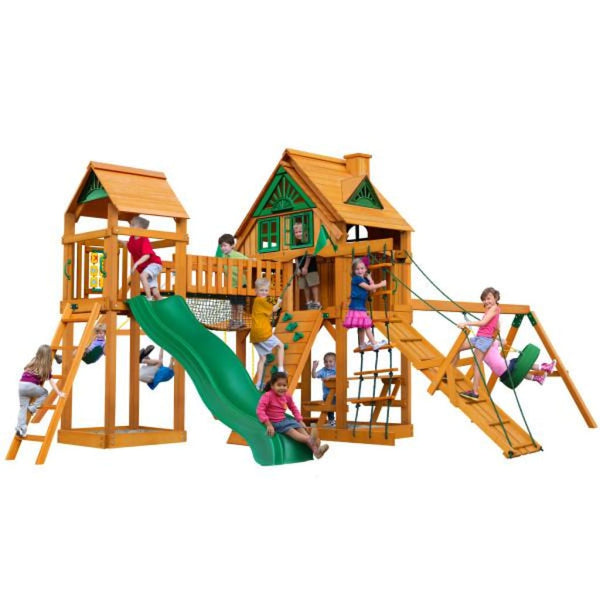 Gorilla Playsets Pioneer Peak Treehouse w/ Fort Add-On & w/ Amber Posts 01-0070-AP Gorilla Swing Sets