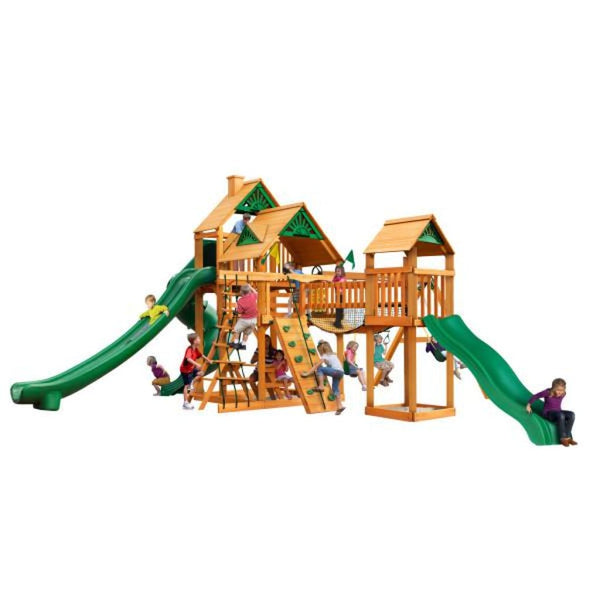 Gorilla Playsets Treasure Trove II w/ Amber Posts and Standard Wood Roof 01-1034-AP Gorilla Swing Sets