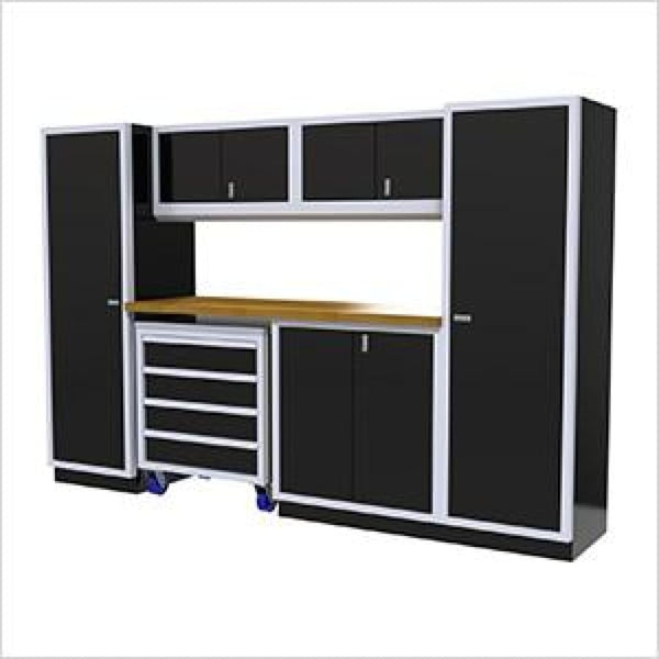 Moduline Pro 7 Piece Cabinet Combination Pgc010-032 Black Garage Furniture Combination