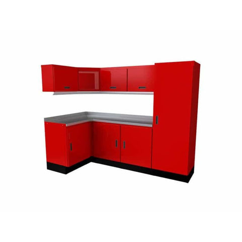 Moduline Select Series 4Û_ X 8Û_ Wide Garage Corner Cabinet Combination Segc010-010C Red Select Series