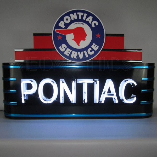 Neonetics Art Deco Marquee Pontiac Neon Sign In Steel Can 9Adpon Neon Signs