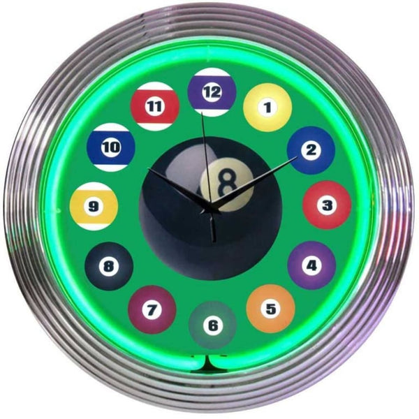 Neonetics Billiard Ball Green Neon Clock 8Bldbg Neon Signs
