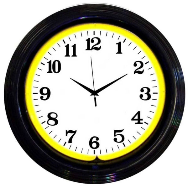 Neonetics Black Rim Yellow Standard Neon Clock 8Bandy Neon Signs