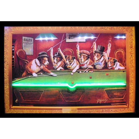 Neonetics Dogs Playing Pool Neon/led Picture 3Dognl Neon Signs