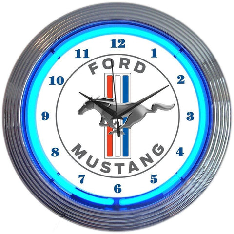 Neonetics Ford Mustang Blue Neon Clock 8Must1 Neon Signs