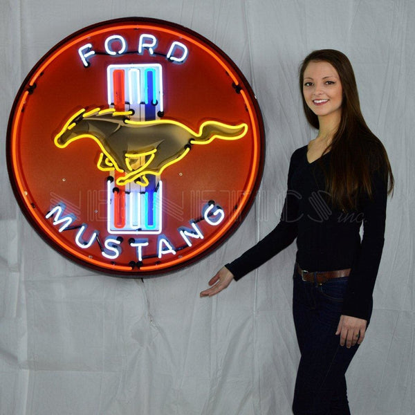Neonetics Ford Mustang Red 36 Inch Neon Sign In Metal Can 9Mustb Neon Signs