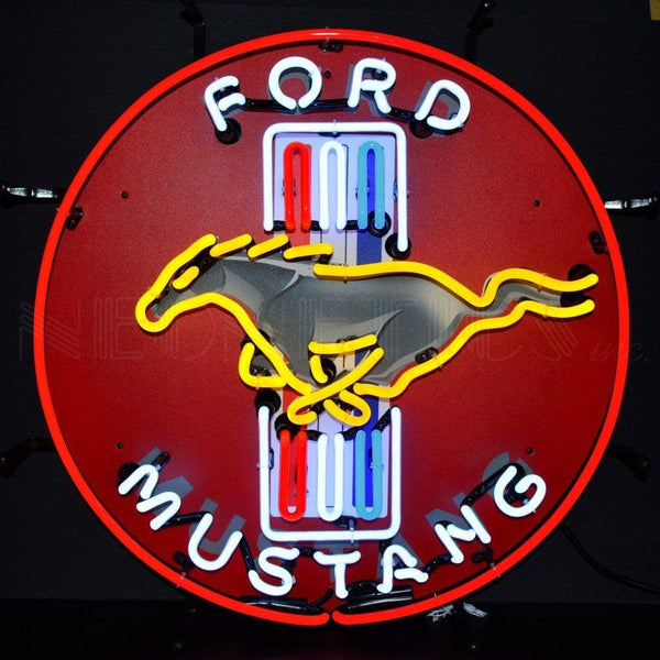 Neonetics Ford Mustang Red Neon Sign With Backing 5Mustb Neon Signs