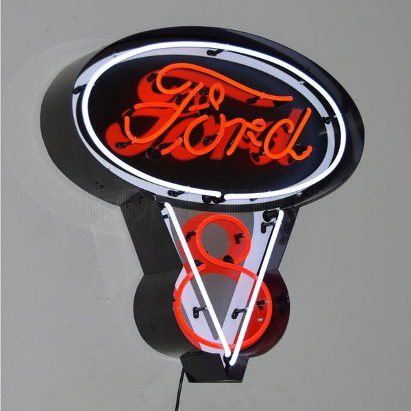 Neonetics Ford V8 Neon Sign In Metal Can 5Fv8Cn Neon Signs