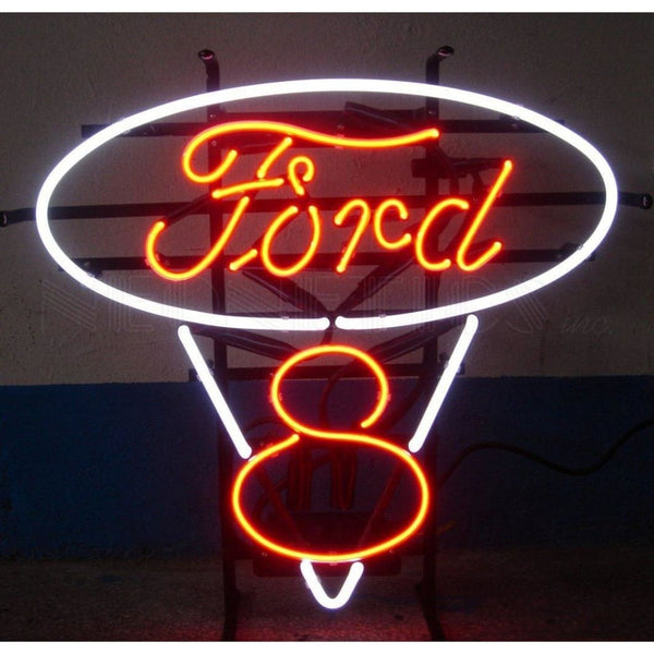 Neonetics Ford V8 Red And White Neon Sign 5Frdv8 Neon Signs