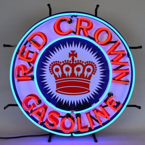 Neonetics Gas - Red Crown Gasoline Neon Sign With Backing 5Crown Neon Signs