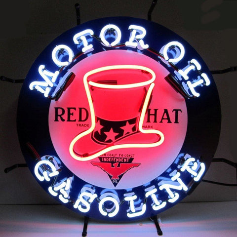Neonetics Gas - Red Hat Gasoline Neon Sign 5Gsrht Neon Signs