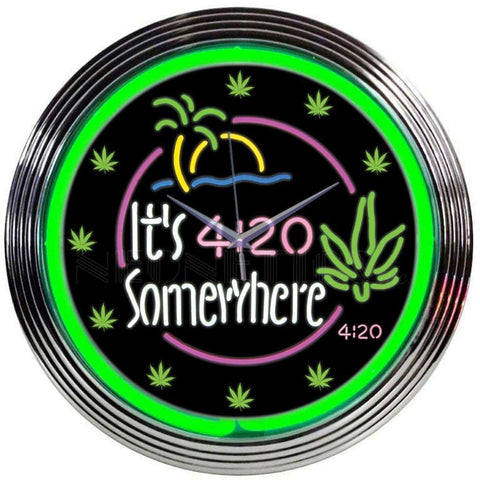 Neonetics Its 4:20 Somewhere Neon Clock 8It420 Neon Signs