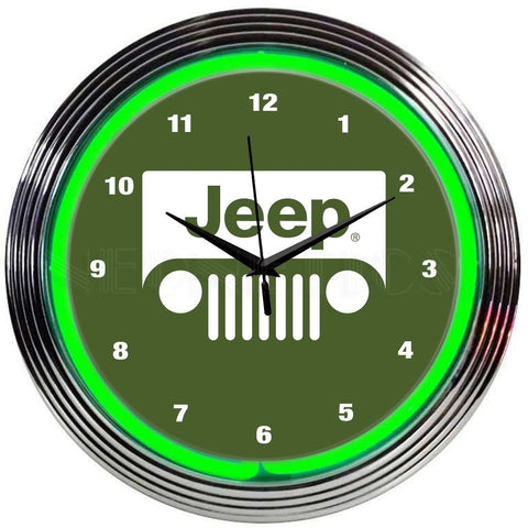 Neonetics Jeep Green Neon Clock 8Jeepg Neon Signs