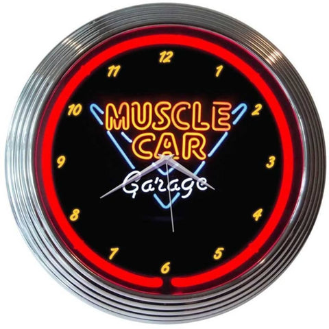 Neonetics Muscle Car Garage Neon Clock 8Mscle Neon Signs