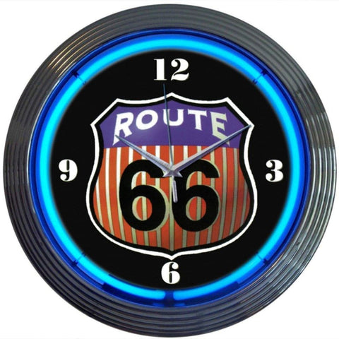 Neonetics Route 66 Round Neon Clock 8Rt66R Neon Signs