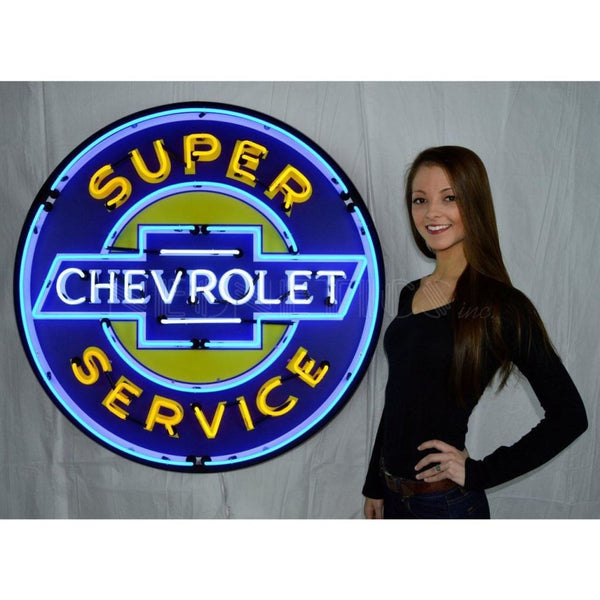 Neonetics Super Chevrolet Service 36 Inch Neon Sign In Metal Can 9Chevyb Neon Signs