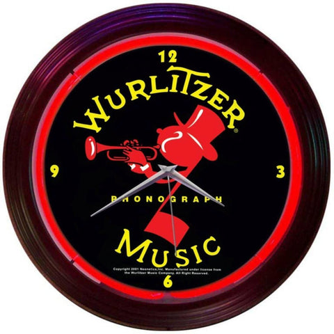 Neonetics Wurlitzer Johnny One Note Neon Clock 8Wurlj Neon Signs